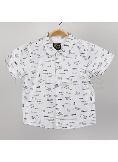Losan Losan Erkek Çocuk Baskılı Kısa Kol Gömlek Beyaz